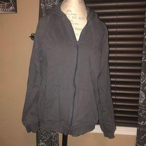 American Apparel Grey Unisex Zip Hoodie - Large